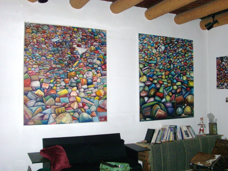 M-J de Mesterton Large Rock Oil Paintings 1975 and 2007