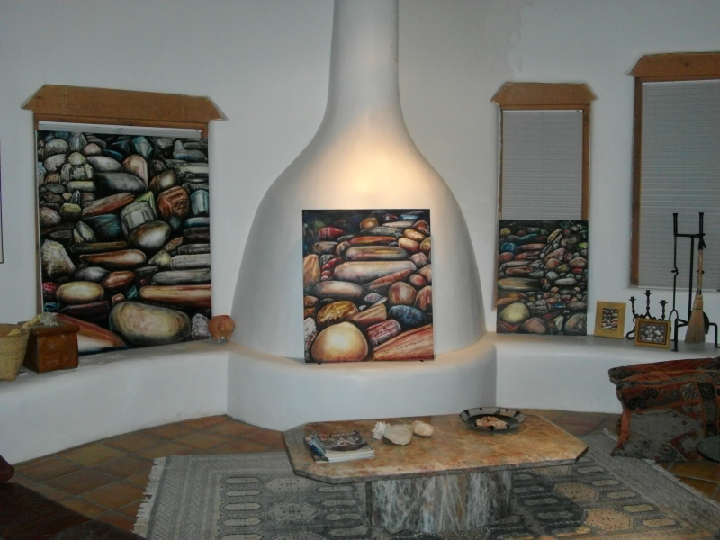 Trio of Luminous Rock and Gem Paintings Copyright 2008 by M-J de Mesterton